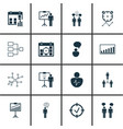set 16 authority icons includes group vector image vector image