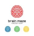 set brain maze icons vector image