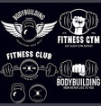 set monochrome fitness emblems labels badges vector image