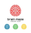 Set of brain maze icons vector image