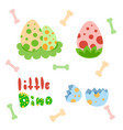 set of dotted colored easter dinosaur eggs vector image