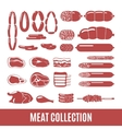 Set of meat and sausage icons vector image
