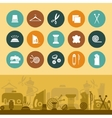 Sewing and needlework icons and banner vector image vector image