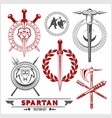 spartan team logo and emblems - set vector image vector image