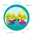 suburban neighborhood landscape sticker vector image