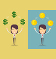 successful happy woman with money set vector image vector image