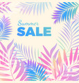 summer sale bright poster with palm leaves vector image