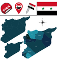 Syria map with named divisions vector image vector image
