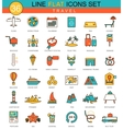 Travel traveling flat line icon set Modern vector image