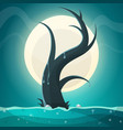 tree moon grass landscape vector image