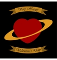 Valentines greeting card - heart as a planet vector image vector image