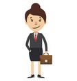 woman with suitcase on white background vector image vector image