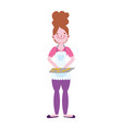 young woman with food in tray character isolated vector image