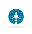 Earth globe with plane logo vector image