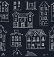 seamless pattern hand drawn buildings vector image
