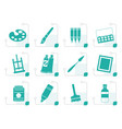 stylized painter drawing and painting icons vector image