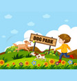 a boy walking dog vector image