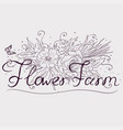 a farm growing flowers typographic labels vector image