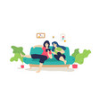 a married couple is resting on sofa flat vector image vector image