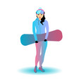 a woman with a snowboard vector image vector image