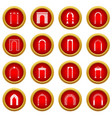 arch set icon red circle set vector image vector image