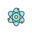 atom molecule flat color line icon vector image