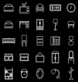 Bedroom line icons on black background vector image vector image
