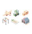 cargo delivery isometric set express service vector image