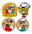 cartoon character pizza and chef logo vector image