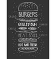 chalk drawn components classic cheeseburger vector image