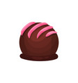 chocolate candy in form of ball with pink icing vector image
