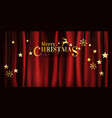 christmas on red fabric background with hanging vector image vector image
