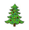 Christmas tree balls decorations festive plant vector image