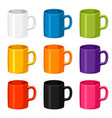 colored mugs templates set of promotional gifts vector image vector image