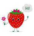 cute strawberry cartoon character with a pink bow vector image vector image