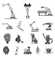 design of robot and factory symbol set of vector image vector image