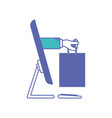 desktop computer and hand holding shopping bag of vector image