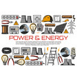 electric power wire energy meter light bulbs vector image vector image