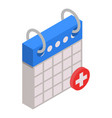 first aid calendar date icon isometric style vector image vector image