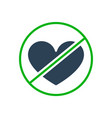 forbidden sign with a heart colored icon vector image vector image