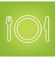 Fork line icon on green background vector image vector image