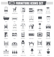 Furniture black icon set Dark grey classic vector image