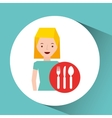 girl cartoon traveler and restaurant icon design vector image vector image