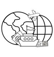 globe with boat vector image vector image
