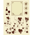Grape vines and winery object silhouettes vector image vector image