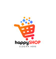 happy shopping logo design template shopping cart vector image vector image