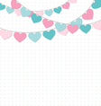 Hearts buntings garlands on white vector image vector image