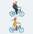 hipster girl and boy riding bicycles vector image