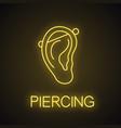 industrial piercing neon light icon vector image vector image
