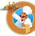 jolly cook with a roasted chicken vector image vector image